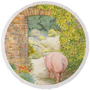 The Convent Garden Pig Round Beach Towel by Ditz