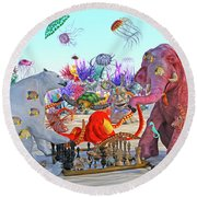The Curious Game Hc Round Beach Towel by Betsy Knapp