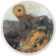 The Cyclops Round Beach Towel by Odilon Redon