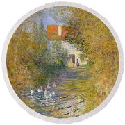 The Duck Pond Round Beach Towel by Claude Monet