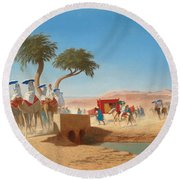 The Empress Eugenie Visiting The Pyramids Round Beach Towel by Charles Theodore Frere