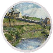 The Farm At Osny Round Beach Towel by Camille Pissarro