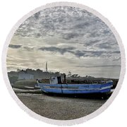 The Fixer-upper, Brancaster Staithe Round Beach Towel by John Edwards
