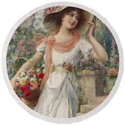 The Flower Girl Round Beach Towel by Emile Vernon