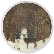 The Forest Of Snow White Round Beach Towel by Carrie Ann Grippo-Pike