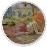 The Goatherd Round Beach Towel by Berthe Morisot