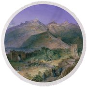 The Great Wall Of China Round Beach Towel by William Simpson