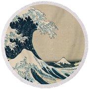 The Great Wave Of Kanagawa Round Beach Towel by Hokusai
