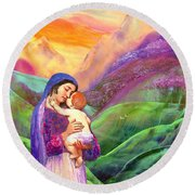 Virgin Mary And Baby Jesus, The Greatest Gift Round Beach Towel by Jane Small