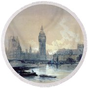 The Houses Of Parliament Round Beach Towel by David Roberts