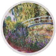 The Japanese Bridge Round Beach Towel by Claude Monet
