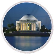 The Jefferson Memorial Round Beach Towel by Peter Newark American Pictures