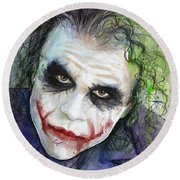The Joker Watercolor Round Beach Towel by Olga Shvartsur