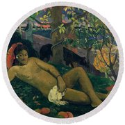 The Kings Wife Round Beach Towel by Paul Gauguin