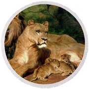 The Lions At Home Round Beach Towel by Rosa Bonheur