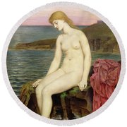 The Little Sea Maid  Round Beach Towel by Evelyn De Morgan
