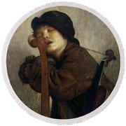 The Little Violinist Sleeping Round Beach Towel by Antoine Auguste Ernest Hebert