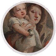 The Madonna And Child With A Goldfinch Round Beach Towel by Tiepolo