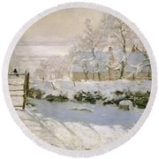 The Magpie Round Beach Towel by Claude Monet