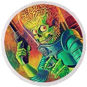 The Martian - Mars Attacks Round Beach Towel by Taylan Apukovska