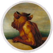 The Minotaur Round Beach Towel by George Frederic Watts