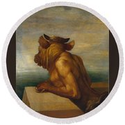 The Minotaur Round Beach Towel by George Frederic