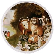The Peaceable Kingdom Round Beach Towel by Edward Hicks