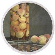 The Peach Glass Round Beach Towel by Claude Monet