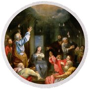 The Pentecost Round Beach Towel by Louis Galloche