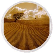 The Ploughed Field Round Beach Towel by Mal Bray