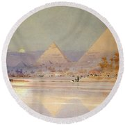 The Pyramids At Dusk Round Beach Towel by Augustus Osborne Lamplough