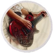 The Red Tour Guitar Round Beach Towel by Don Kuing