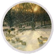 The Shortening Winters Day Is Near A Close Round Beach Towel by Joseph Farquharson