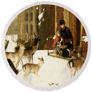 The Sisters Of Charity Round Beach Towel by Charles Burton Barber