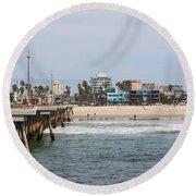The South View Venice Beach Pier Round Beach Towel by Ana V Ramirez