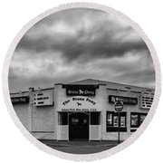 The Stone Pony Asbury Park New Jersey Black And White Round Beach Towel by Terry DeLuco
