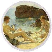 The Sun Bathers Round Beach Towel by Henry Scott Tuke