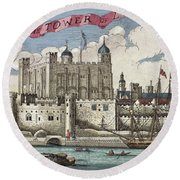 The Tower Of London Seen From The River Thames Round Beach Towel by English School
