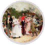 The Village Wedding Round Beach Towel by Sir Samuel Luke Fildes