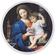 The Virgin Of The Grapes Round Beach Towel by Pierre Mignard