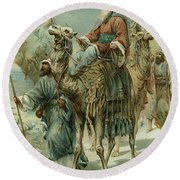 The Wise Men Seeking Jesus Round Beach Towel by Ambrose Dudley