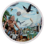 The World Of Ray Harryhausen Round Beach Towel by Tony Banos