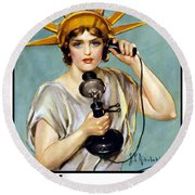 This Is Liberty Speaking - Ww1 Round Beach Towel by War Is Hell Store