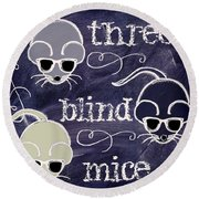 Three Blind Mice Children Chalk Art Round Beach Towel by Mindy Sommers