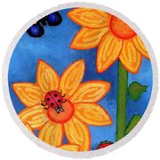 Three Ladybugs And Butterfly Round Beach Towel by Genevieve Esson