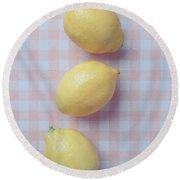 Three Lemons Round Beach Towel by Edward Fielding