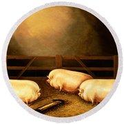 Three Prize Pigs Round Beach Towel by English School