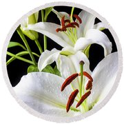 Three White Lilies Round Beach Towel by Garry Gay