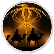Three Wise Men Christmas Card Round Beach Towel by Bellesouth Studio
