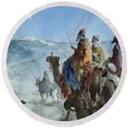 Three Wise Men Round Beach Towel by Henry Collier